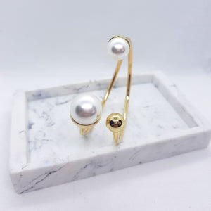 Grace Bangle - Pearls with Gold Accents