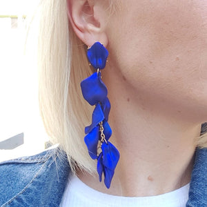 Sarah Earrings - Bright Blue Floaty Petal Earrings