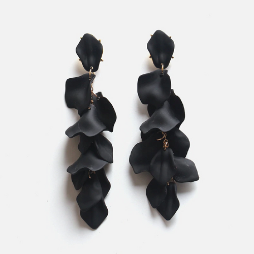 Penny Earrings - Black Floaty Petal Earrings