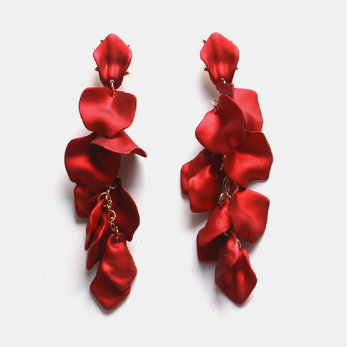 Valentina Earrings - Red Floaty Petal Earrings