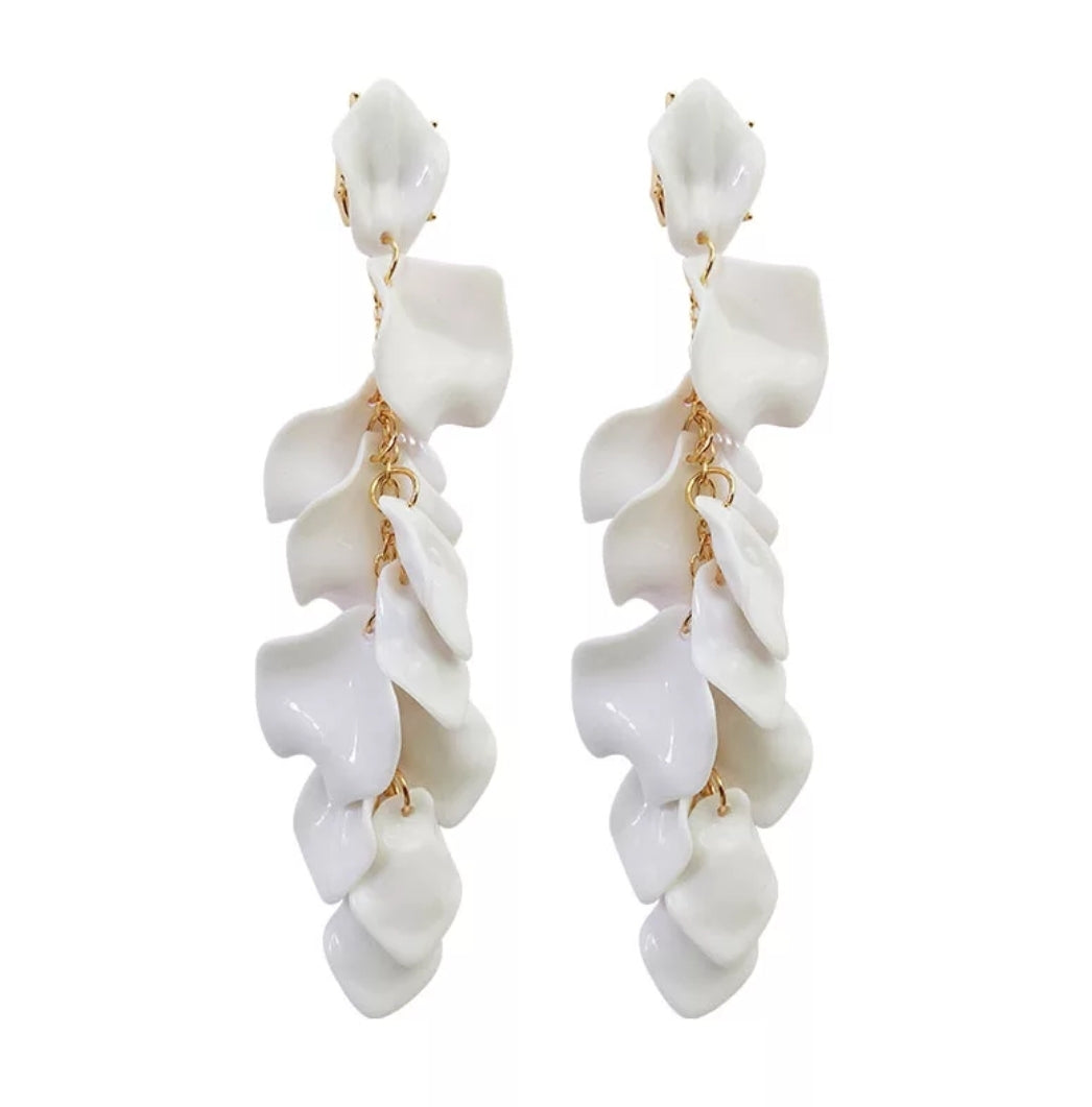 Georgia Earrings - White Floaty Petal Earrings