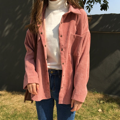 Long Sleeve Courduroy Blouse