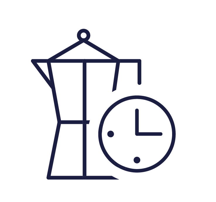 Sketch of coffee machine in navy with clock