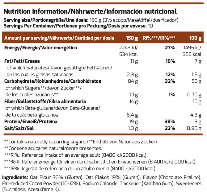 Scitec Nutrition Oatmeal Nutrition Facts