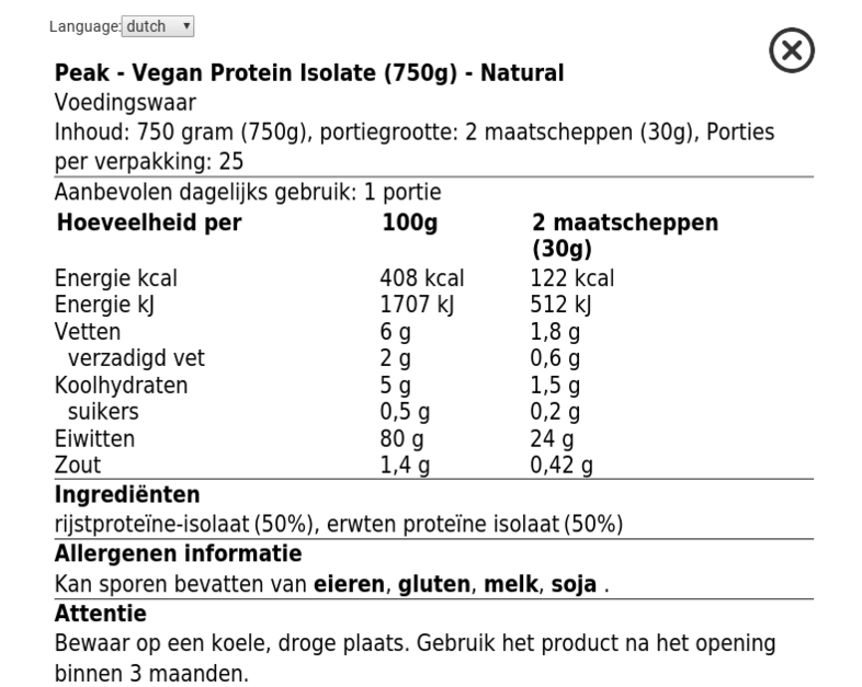 Peak Soy protein nutrition Facts label