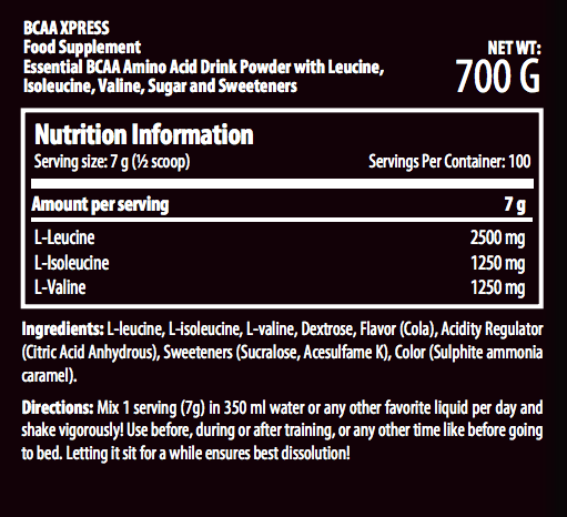 Scitec Nutrition BCAA Express Nutrition facts