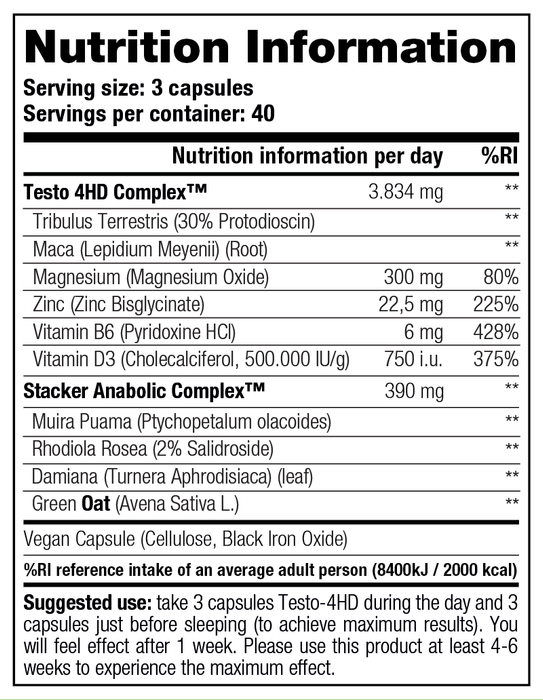 Stacker Testo 4-HD Nutrition Facts