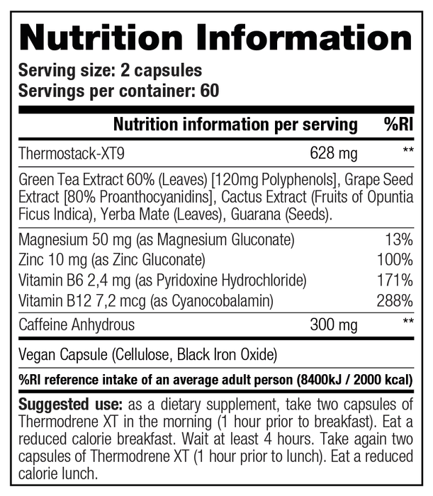Stacker Thermodrene XT 120 caps Nutrition Facts