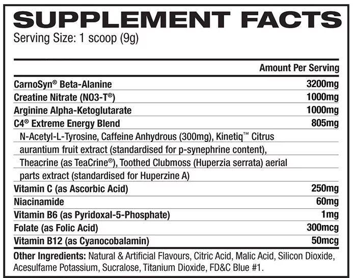 Cellulor C-4 pre-workout Nutrition Facts
