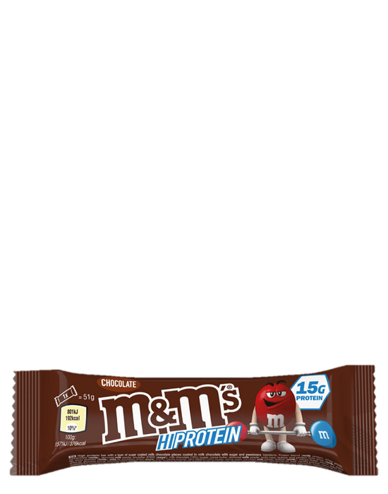 M&M hi protein bar chocolate
