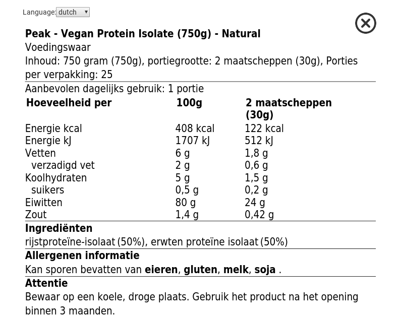 Peak vegan protein nutrition facts, label