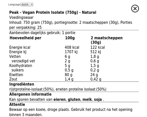 Image of Peak vegan protein nutrition facts, label