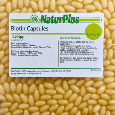 Biotin 10000 mcg with Coconut Oil Capsules for Hair Skin and Nails