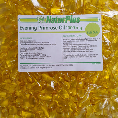 Evening Primrose Oil Capsules 1000mg, Omega 6 Cold Pressed, High Strength GLA