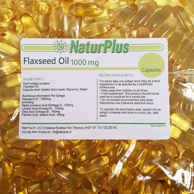 Flaxseed Oil Capsules 1000mg, Cold Pressed Omega 3 6 9 High Absorption Softgels