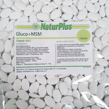Glucosamine 400mg, Chondroitin 100mg,  MSM 50mg and Vitamin C 60mg tablets