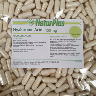 Hyaluronic Acid Capsules 100mg, All Natural Vegetarian & Vegan Supplement