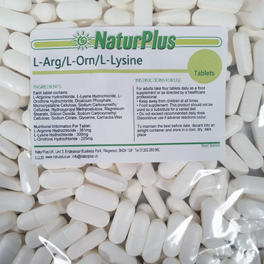 L-Arginine, L-Lysine, L-Ornithine 800mg tablets
