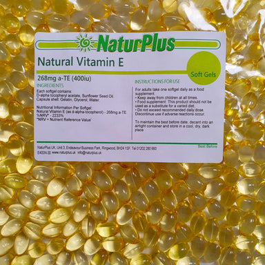 Vitamin E 400iu Capsules, All Natural Source Vitamin E Oil in Rapid Absorption, Easy to Swallow Softgels