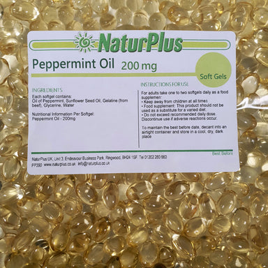 Peppermint Oil Capsules 200mg, Premium Oil of Peppermint Liquid in Softgels