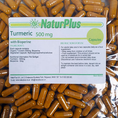 Turmeric Curcumin with BioPerine Black Pepper Extract, Vegetarian & Vegan 500mg Capsules