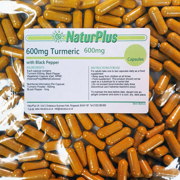 Turmeric 600mg Capsules with 5mg of Black Pepper