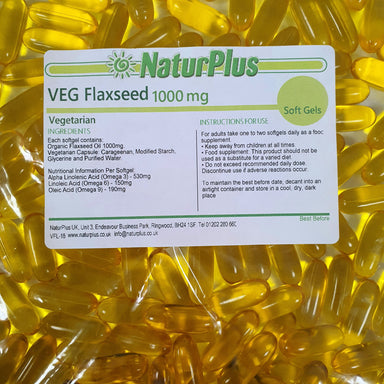Flaxseed Oil Capsules 1000mg, Cold Pressed Omega 3 6 9 Vegetarian & Vegan Softgels