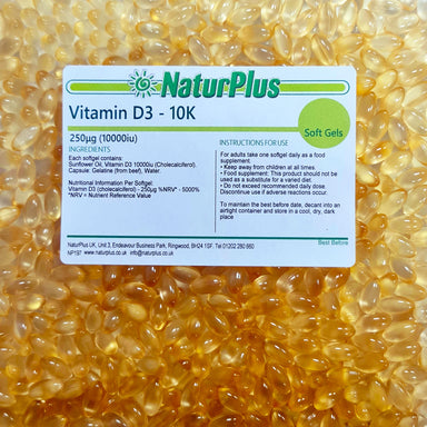 Vitamin D3 10,000iu Capsules - Vitamin D Supplements for Bones, Teeth & Immune System