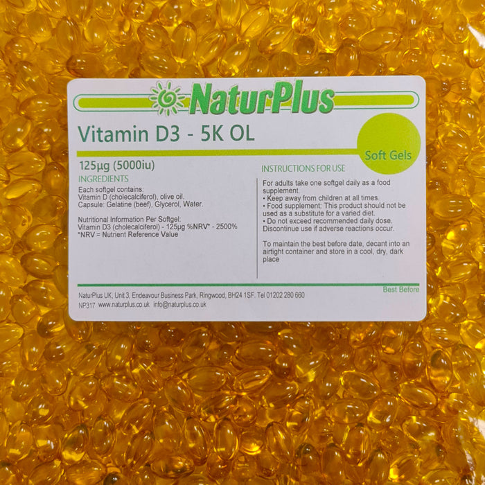 Vitamin D3 5000 iu Capsules with Olive Oil, Vitamin D Supplements for Immune System, Bones & Muscle Function