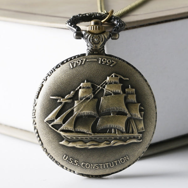 Sailing Boat Ship Design Quartz Pocket Watch With Necklace Chian
