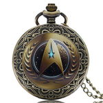 Antique Sart Trek Pattern Quartz Pocket Watch Bronze Steampunk