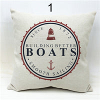 Ocean Seafarer Voyager Boats Anchors Compass Cushion Covers Pillow Throw Linen Cotton Pillow Case
