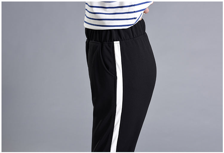2019 Summer Leisure White Bar Side-stripe Pants Women