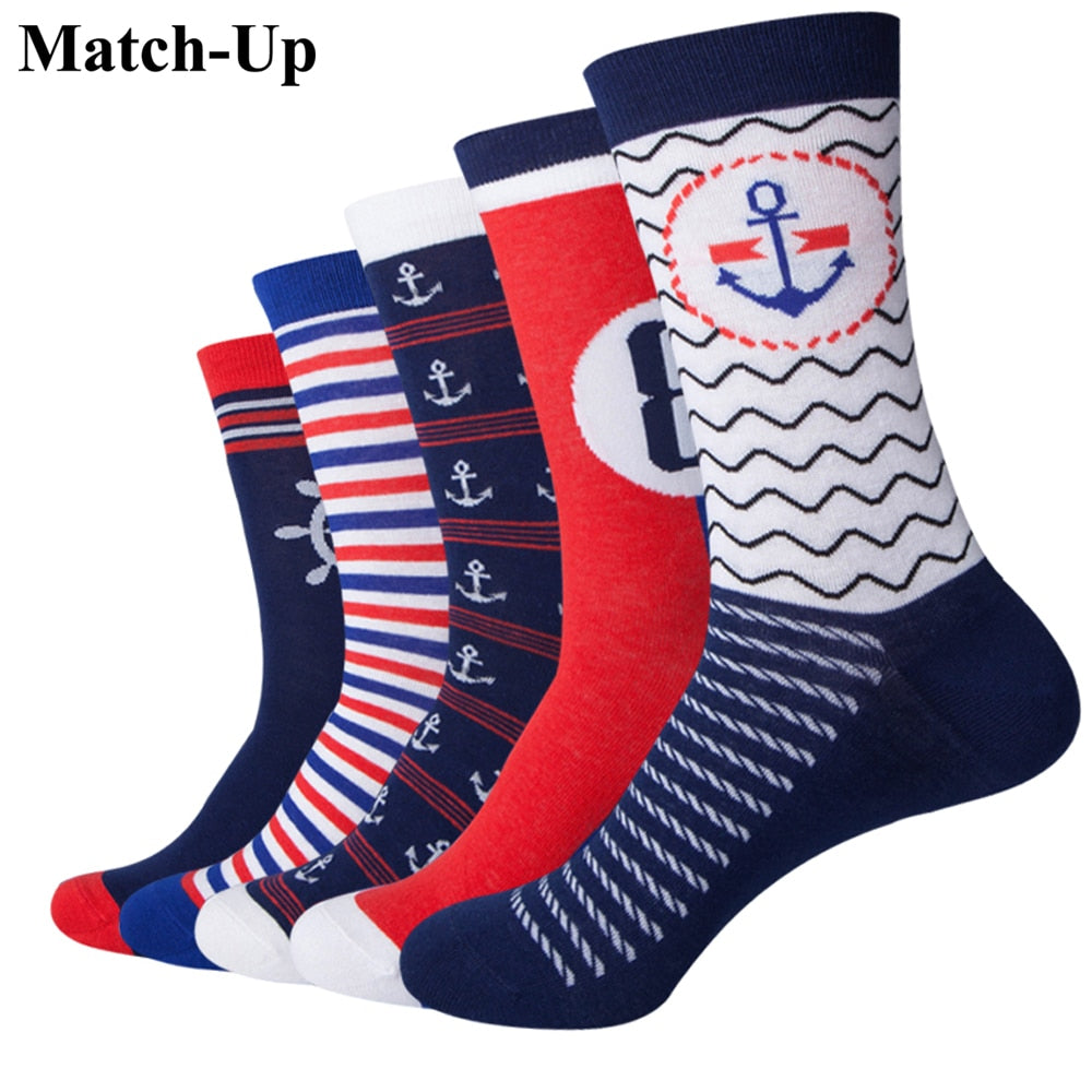 5 pairs Navy Style Anchor Men Combed Cotton funny Socks