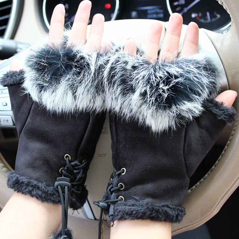 Winter Gloves Women Skull silvery Sequins Rabbit Fur