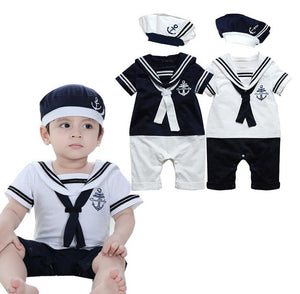 Cotton Short Sleeve Sailor Collar Rompers+Hat Outfits Clothes Set Toddler