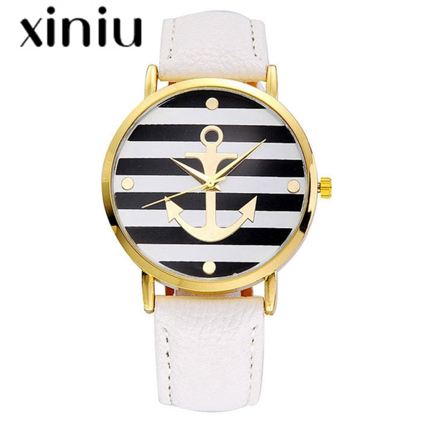 Quartz watch Seawomen & Seaman Leather strap Anchor Watches