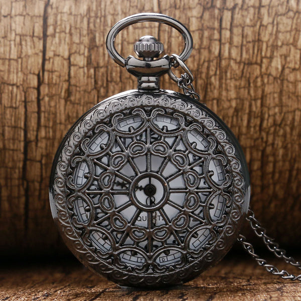 Pocket Watch Black Hollow Web Spider Carving Quartz