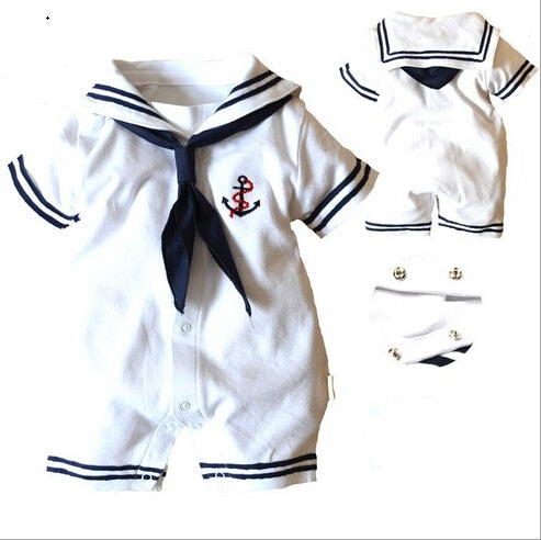 Newborn Clothes Baby Girls Boys Romper White Navy Sailor uniforms 100%Cotton