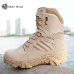 Winter Autumn Men Military Boots Work Shoes Leather Snow Boots