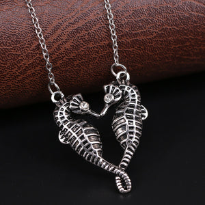 Seawoman Double Kiss Sea Horse Pendant Necklace Charms