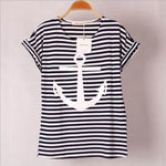 Black And Whi Striped With Printed Anchor Seawoman