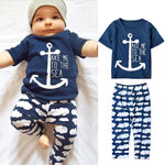Navy Sailor Baby Boys Clothes Sets Anchor Short Sleeve