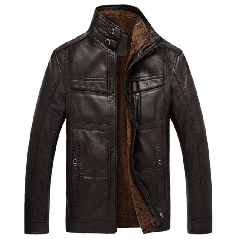 Autumn and winter quality men's leather jacket warm business casual coat