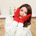 Winter Knitted Wool Thicker Cashmere Velvet Warm Gloves Ladies