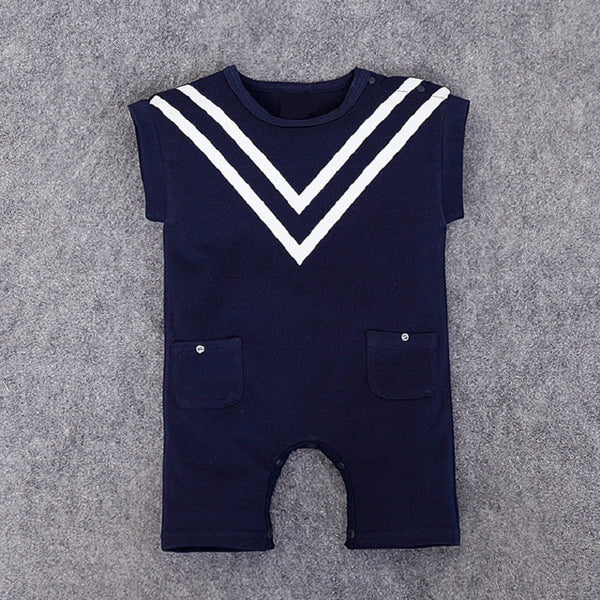 2019 Baby Boy Sailor Romper Newborn Cotton Navy Romper Baby Boy