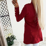 Slim Thin Jacket Fashion Red Black Botton Sleeve Outerwear
