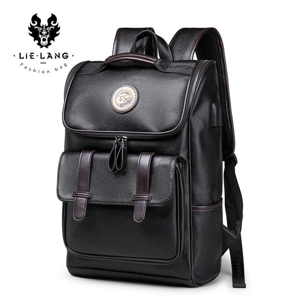Backpack Leather Men Laptop Travel Backpack 15inch Waterproof
