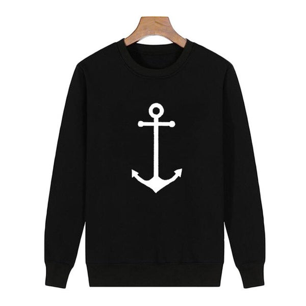 Anchor Autumn SeaWomen Fashion Black White Fleece Sweatshirts
