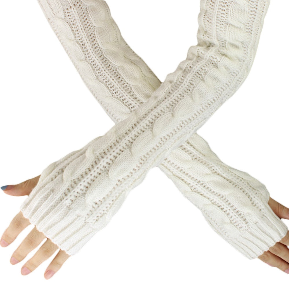 Spring Autumn Women Wool Fingerless Gloves
